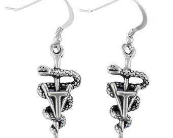 Sterling Silver Vet Tech Earrings Veterinary Caduceus Animal Profession