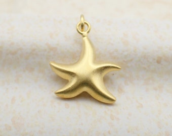 Starfish Charm Gold Plated Sterling Silver Beach Dainty Star Fish Pendant