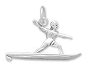 Sterling Silver Surfer on Surf Board Charm Pendant 3D Water Sport Ocean