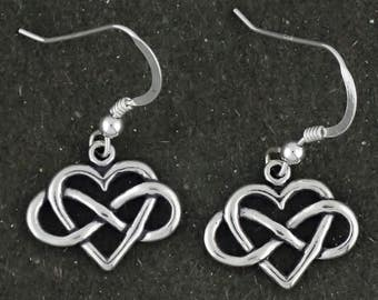 Sterling Silver Heart with Infinity Symbol Earrings Forever Love