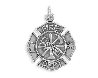 Fireman Charm Sterling Silver Pendant Firefighter Maltese Cross Ladder Axe Helmet