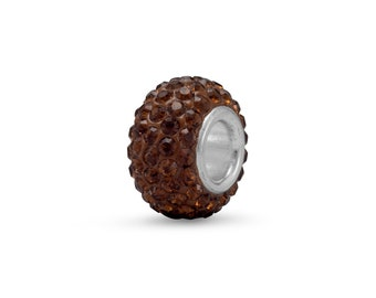 Brown Pave Crystal Charm Bead Sterling Silver Core Large Hole
