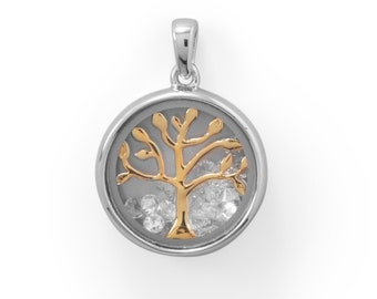Two Tone Family Tree Pendant Clear CZ's 925 Sterling Silver Charm