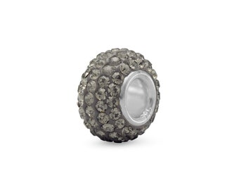 Gray Pave Crystal Charm Bead Sterling Silver Core Large Hole