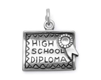 High School Diploma Charm 925 Sterling Silver Pendant Graduation