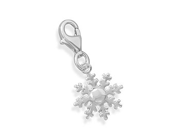 CLEARANCE Snowflake Charm Sterling Silver Lobster Claw Clasp Snow Flake