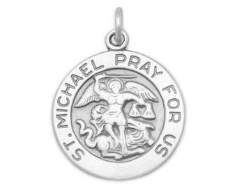 St Michael Charm 925 Sterling Silver Pendant round religious medal