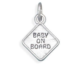 Sterling Silver Baby on Board Charm Pendant