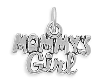 Mommy's Girl Charm 925 Sterling Silver Pendant Family Words