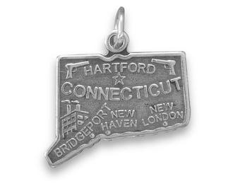 Sterling Silver Connecticut State Charm America Hartford New Haven