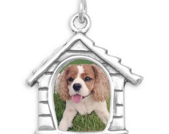 Dog House Picture Frame Charm 925 Sterling Silver Pendant Photo Holder