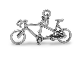 Tandem Bicycle Charm 925 Sterling Silver Pendant 2 person bike