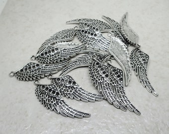 CLEARANCE Angel Wing Charm set of 16 Pewter Silver Plated Pendant Feather Bird