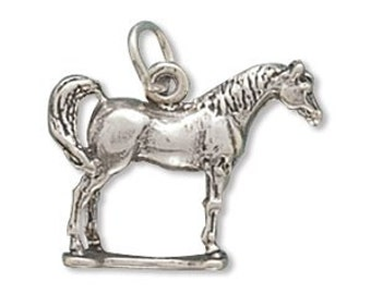 Sterling Silver Horse Charm Pendant Standing Arabian 3d Animal