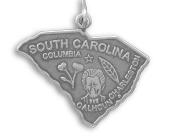 Sterling Silver South Carolina State Charm America Palmetto Leaf Charleston