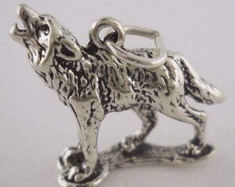 Sterling Silver Howling Wolf Charm Pendant 3D Animal