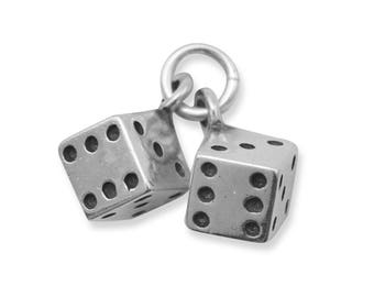 Sterling Silver Pair of Dice Charm Pendant 3d Game Gambling