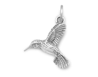 Hummingbird Charm Sterling Silver Pendant Humming Bird