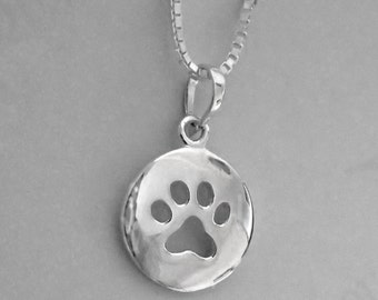 Sterling Silver Paw Print Pendant Necklace Box Chain Round Pawprint Charm