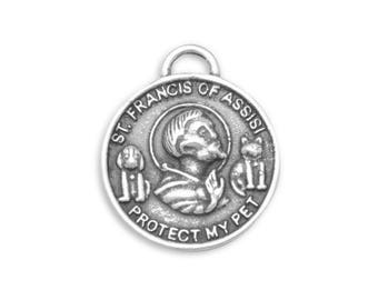 Sterling Silver St. Francis of Assisi Medal Charm Pendant Religious Animal