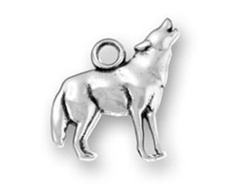 Wolf Charm Sterling Silver Pendant Howling Animal