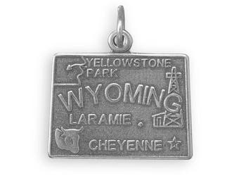 Sterling Silver Wyoming State Charm America Travel Yellowstone Cow Oil Derrick