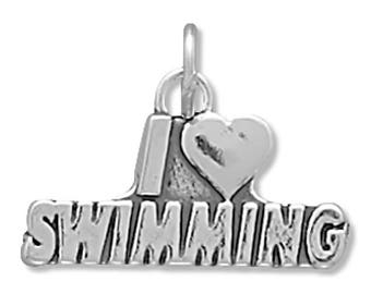 I Love Swimming Charm 925 Sterling Silver Pendant Heart Swimmer Athlete