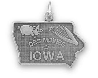 Sterling Silver Iowa State Charm America Hawkeye Pig Corn Des Moines