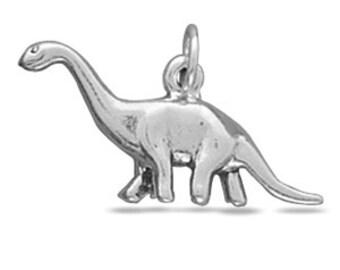Sterling Silver Apatosaurus Brontosaurus Dinosaur Charm Pendant 3D