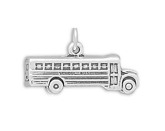 School Bus Charm Sterling Silver Pendant 3D
