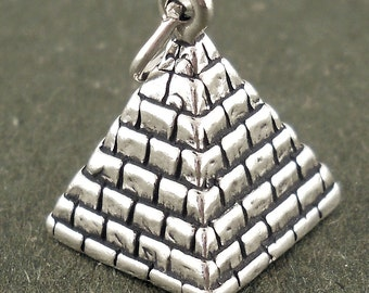 Pyramid Charm Sterling Silver Pendant Egypt 3D