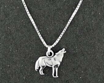 Sterling Silver Wolf Charm Pendant Howling Necklace with Box Chain