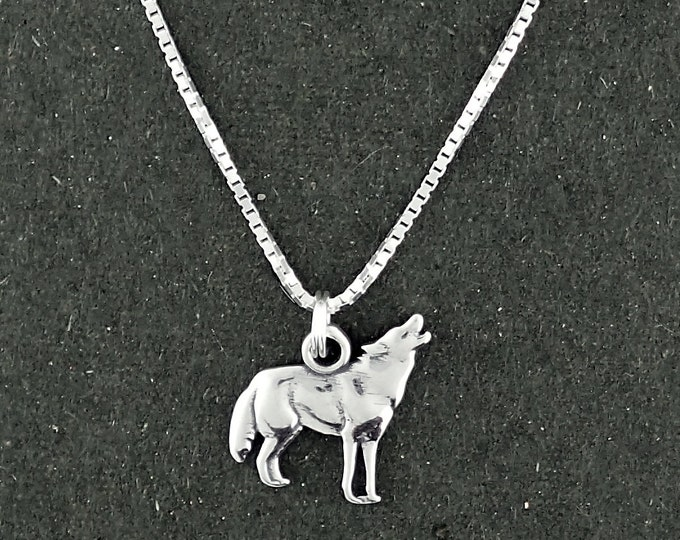 Featured listing image: Sterling Silver Wolf Charm Pendant Howling Necklace with Box Chain