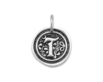 Sterling Silver Letter Charm T Initial Pendant Ornate Disc