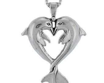 Sterling Silver Dolphin Heart Neckace Box Chain 1mm Pair of Dolphins