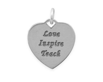 Love Inspire Teach Charm 925 Sterling Silver Pendant Heart Teacher