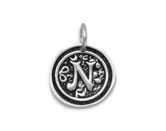 Sterling Silver Letter Charm N Initial Pendant Ornate Disc