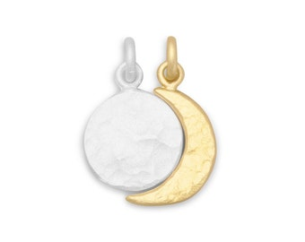 Full Moon and Crescent Moon Charms 14K Gold Plated Sterling Silver 2 piece Charm Set