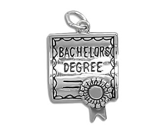 Sterling Silver Bachelors Degree Diploma Charm Pendant Graduation College School