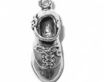 Sterling Silver Irish Dance Hard Shoe Charm Pendant 3D Celtic Dancing