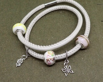 Garden Charm Bracelet Ceramic Glass Sterling Silver Beads Beige Leather Stainless Steel Magnetic Clasp