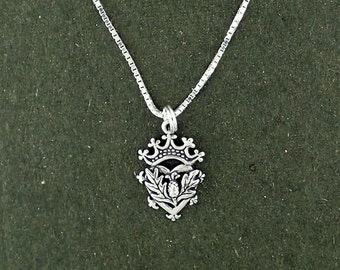 Sterling Silver Thistle Pendant Necklace Box Chain Luckenbooth Scottish Scotland Celtic