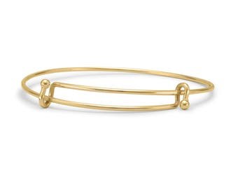Gold Tone Double Hook Expandable Wire Bangle Bracelet
