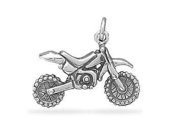 Dirt Bike Motorcycle Charm Sterling Silver Pendant 3D Motocross Extreme Sport