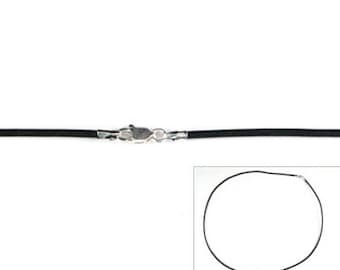 Black Leather Necklace 2mm Sterling Silver Endcaps and Lobster Claw Clasp Closure