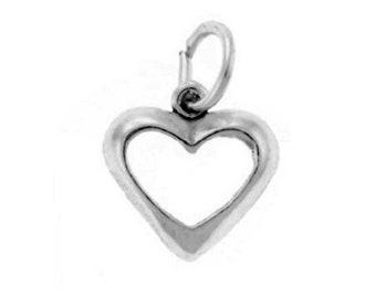 Open Heart Charm Sterling Silver Dainty Heart Pendant Love Valentine