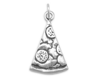 Slice of Pizza Charm Sterling Silver Pendant Food Pepperoni Salami