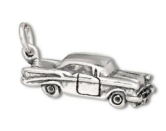 Car Charm Sterling Silver 50's 2 Door Sedan Automobile Pendant Transportation 3D