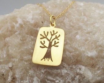Tree of Life Charm Gold Plated Sterling Silver Family Pendant