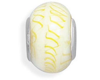 Yellow Design on White Glass Charm Bead Sterling Silver Core Large Hole
